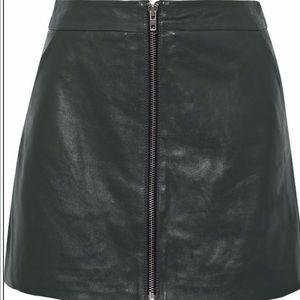 Dark green leather Muubaa zip up skirt